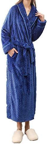 WorthSJLH Women's Soft Comfy Fleece Long Bathrobe Sleep wear with Side Poc