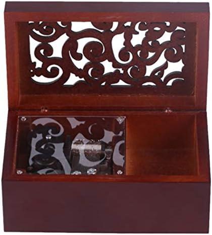 JVSISM Vintage Pino Hueco 18 Notas Caja Musical de Cuerda Joyas de Artesanía Caja de Música Tipo de Reloj Caja de Música de Manivela, Plata + Rojo de Vino To Alice: Amazon.es: