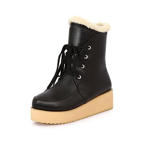 Short with Round Black Heels Platform Kitten Solid PU 5 B Closed Plush US 6 Toe M Boots AmoonyFashion Girls 0wEnqCPP