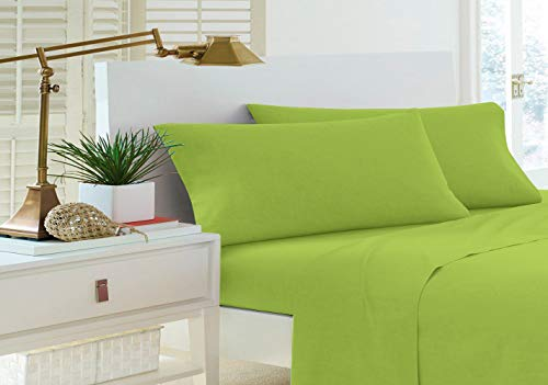 Home Sweet Home Dreams Inc Jessica Collection 200 Thread Count Percale Cotton Rich Twin Extra Long Sheet Set (Twin XL, Green)