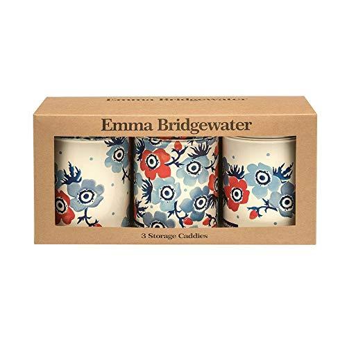 Emma Bridgewater Anemone Tin Caddies Storage Canister Jars Set of 3