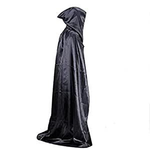 halloween costume Sannysis Escudo Capa con capucha Wicca Robe medieval Fiesta de Halloween (Negro)