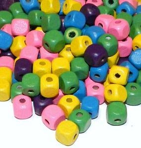 (Steven_store WX248 Assorted Blue Green Pink Purple Yellow 10mm Square Cube Wood Beads 90-Gram Making Beading Beaded Necklaces Yoga Bracelets)
