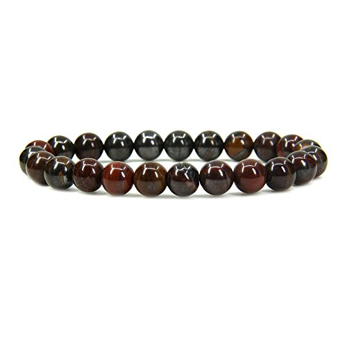 Natural Tiger Iron Gemstone 8mm Round Beads Stretch Bracelet 7