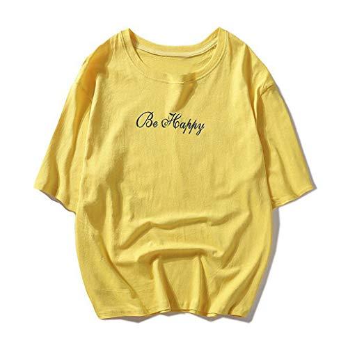 YOcheerful Men Tee Mens Short Sleeve Shirt Unisex Casual Teen's Smiling Face Top Blouse Hip Hop Tee Rap Cool Shirt Yellow ()