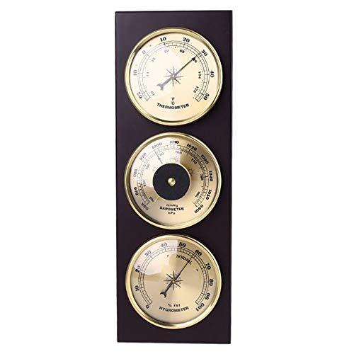 KLSAMNM 3Pcs/Set Barometer Thermometer Hygrometer with Wooden Frame Base Weather Station