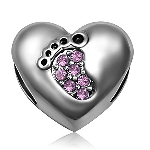 JMQJewelry Heart Mom Love Foot June Puple Birthstone Charms for Bracelets
