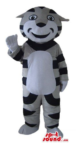 Striped Tiger Mascot (Happy striped Tiger SpotSound Mascot US costume wild animal fancy dress)