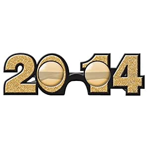 2014 Gold Glitter Glasses New Years Eve Favors
