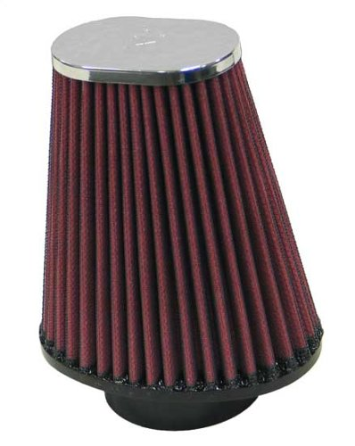 K&N RC-70040 Universal Clamp-On Air Filter: Oval Tapered; 2.375 in (60 mm) Flange ID; 5.5 in (140 mm) Height; 4.875 in x 3.5 in (124 mm x 89 mm) Base; 3 in x 2 in (76 mm x 51 mm) Top