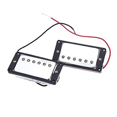 Kingzer Bobina de doble cromado Pastilla Humbucker para guitarra eléctrica pastilla Humbucker Pastilla para guitarra eléctrica DIY Kit para Gibson Les Paul ...