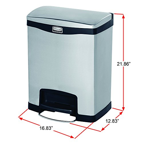 Rubbermaid Commercial Slim Jim Stainless Steel Front Step-On Wastebasket, 8-gallon, Red (1901988) by Rubbermaid Commercial Products (Image #4)