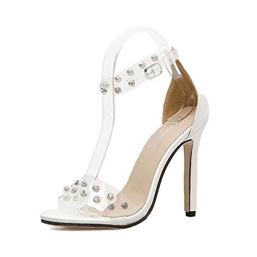 Sandalias Alto Mujer Correa Transparente Zapatos Peep para Toe De Tobillo Piedras De Zapatos DE White De Strass Mujer Talón Adventure IYwYq6B