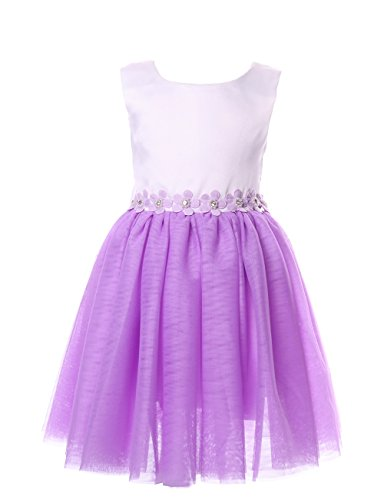 Cilucu Flower Girls Dresses Kids Birthday Party Dress Toddlers Tutu Dress Pageant Gown Beaded Sleeveless Wedding Dress Purple/White 7-8 Years