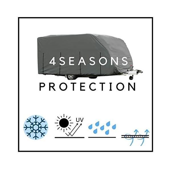 41RM2auPAXL HBCOLLECTION Atmungsaktiv Stabil Schutzhülle für Wohnwagen (3,80 m Länge (2,15 x 2,20 m/Breite x Höhe))