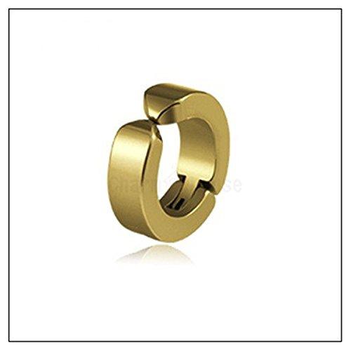 Baqijian Ear Clip Earrings Pierced Earring Men 1 Pcs Circle Round Earring Jewelry Punk Rock Ear Gold Color ()
