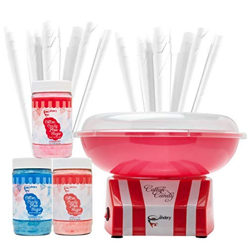 The Candery Cotton Candy Machine and Sugar Kit - Includes 50 Paper Cones & 3 Flavors & Sugar Scoop - Raspberry Blue, Strawberry, Vanilla - Kid-Friendly and Easy-to-Assemble UPGRADED
