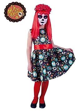 DISBACANAL Disfraz Catrina día de los Muertos para niña - Único, 5-7 años