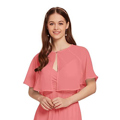 AW Women's Chiffon Wrap Shawl Shrug Wedding Cape Bolero Jacket Evening Coat Cover Up, Coral Pink, S