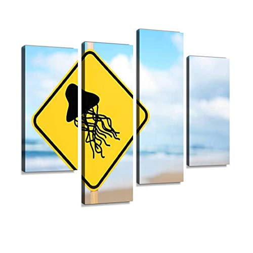 Warning Jellyfish Canvas Wall Art Hanging Paintings Modern Artwork Abstract Picture Prints Home Decoration Gift Unique Designed Framed 4 Panel