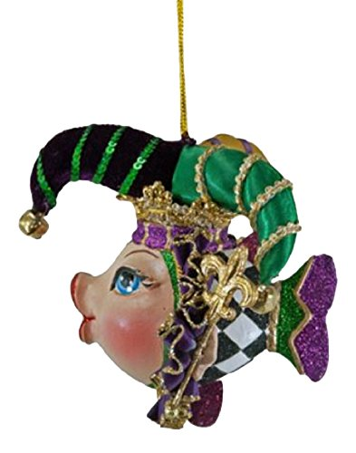 Katherine's Collection mardi gras jester kissing fish ornament