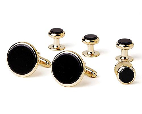 Genuine Onyx Round Gold Tuxedo Cufflinks and Studs ()