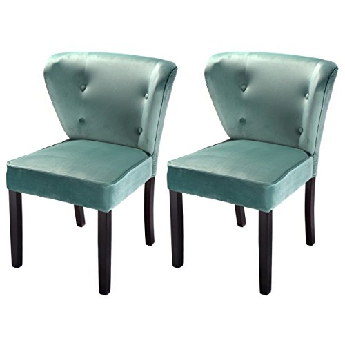 Giantex Set Of 2 Accent Dining Chairs Velvet Fabric Armless Contemporary Home Furniture Blue
