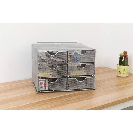 HGmart Desktop Storage Cabinet Office Supplies Basket with 6 Sliding Drawers, Silver