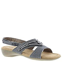 *Savor the sun-warmed western breezes in this sweet sling sandal *Leather or fabric upper with braided detail and silver metallic ornaments *Adjustable hook and loop backstrap for a custom fit *Suede-like fabric footbed cover *Soft foam footb...