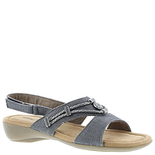 Minnetonka Silvie Slingbck Women's Sandal 7 C/D US Grey-Linen