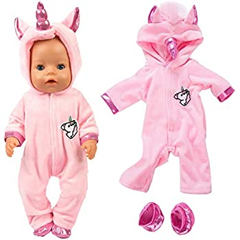2pc Unicorn Jumpsuit Doll Clothes Shoes for 16-18 inch New Born Baby Bitty Doll
