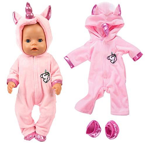 [해외]ebuddy 패션 인형 의상 미국 소녀와 같은 18 인치 인형 여행 소녀 인형 우리 세대 인형 / ebuddy 2pcSet Unicorn Costume Jumpsuit Doll Clothes with Shoes for 43 cm New Born Baby Dolls 15 inch Bitty Baby Dolls, Pink