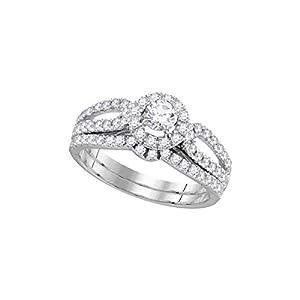 14kt White Gold Womens Diamond EGL Round Bridal Wedding Engagement Ring Band Set 1.00 Cttw