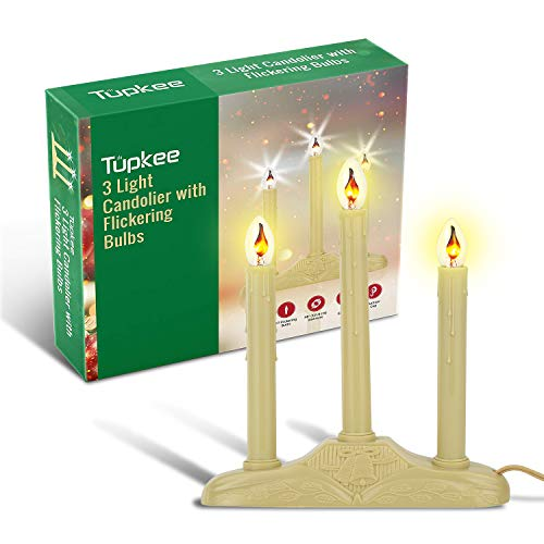 Tupkee Christmas Candolier Window Candles - with Flickering Bulbs - 3-Lights Indoor -Flameless Electric Window Candles Candelabra