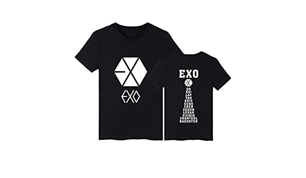 KPOP Exo Letra de Manga Corta Camiseta de Verano Impresa Cuello Redondo Tops Unisex Casual Loose Top Tees Baekhyun Sehun Chanyeol