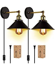 Wall Sconces 2-Pack JACKYLED Black Industrial Vintage Wall Lamp Fixture Simplicity Bronze Finish Arm Swing Wall Lights
