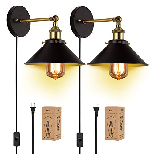 Wall Sconces Plug in 2 Pack JACKYLED Black Hardwire Industrial Vintage Wall Lamp Fixture Simplicity Bronze Finish Arm Swing Wall Lights