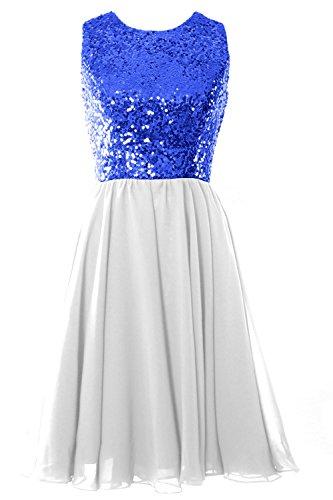 MACloth Women O Neck Short Bridesmaid Dress Chiffon Wedding Party Formal Gown (EU42, Marfil)