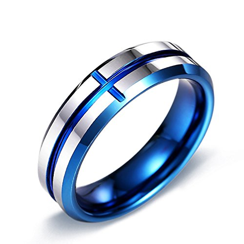 Fate Love 7mm Mens Wedding Band Blue Cross Line Plated Groove Tungsten Carbide Ring Size 7-11 (Tungsten Carbide Plated Cross)