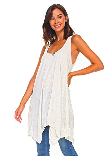 e7e9a3141ba Simplicitie Women's Sleeveless Swing Flare Tunic Dress Tank Top - Regular  and Plus Size - Oatmeal