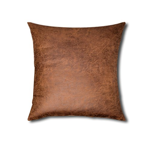 Leather Accent Pillow (100% Bonded Leather Throw Pillow)