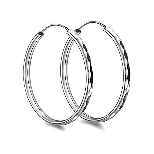 Liuanan 925 Sterling Silver 50mm& 55mm & 60mm Round Hoops Earrings Fashion Sport Ear Stud Pair (55mm)