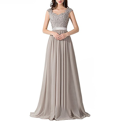 DingXuBao Women's Lace Beaded Prom Bridesmaid Bridal Party Evening Gown(US12, Silver Gray)