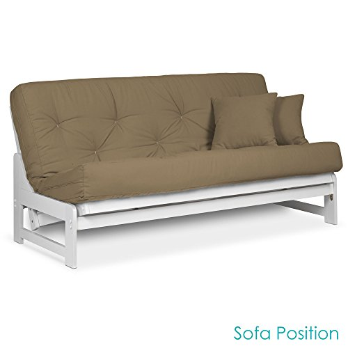 - Arden White Futon Set Queen Size - Armless Futon Frame with Mattress (Microfiber Sussex Khaki), More Mattress Colors & Sizes Available, Space Saving Modern Sofa Bed Sleeper
