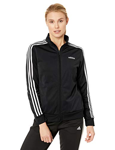 adidas Women's Essentials 3-stripes Tricot Track Jacket, Black/White, - Adidas Hoodie Womens