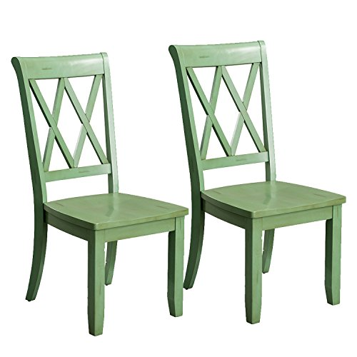 Standard Furniture 11305 Vintage Transitional Style Dining Side Chairs, Pack of 2, Distressed Green