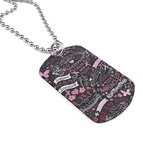 Breast Cancer Military Necklace Dog Tag Pendant Jewelry Necklace