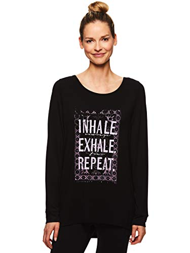 - Gaiam Women's Long Sleeve Graphic Yoga T Shirt - Activewear Top w/Open Back - Hailey Black, Small