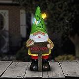 Exhart Solar Light Up Gnome Garden Statue, Solar Powered, Resin, Green Hat, 5