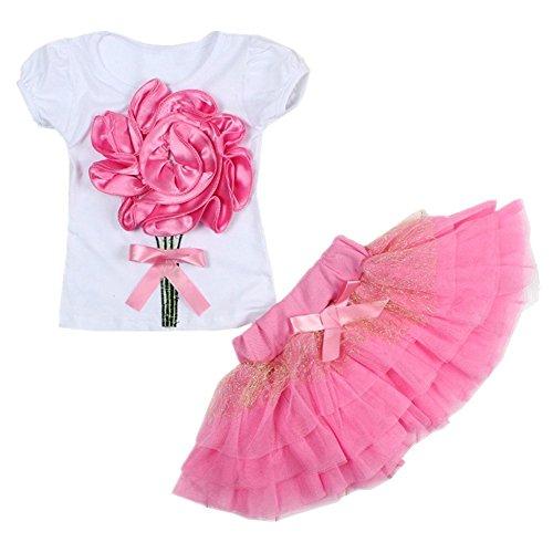 ASHERANGEL Little Girls' 2Pcs Clothing Suit Flower Shirt and Skirt Set Pink 4T